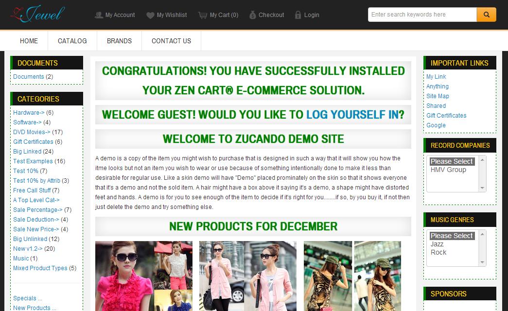 Zjewel responsive zen cart template free zen cart for Free responsive zen cart templates